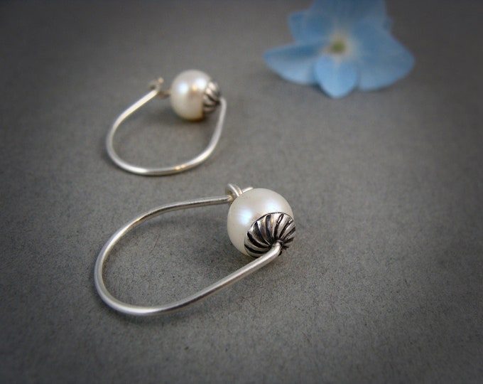rose bud ... sterling silver hoops, pearl hoops, small hoops, Bridesmaid gifts, classic pearls, gifts for her