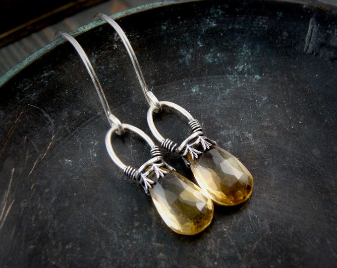 citrine lanterns ... gemstone earrings, sterling silver dangles, citrine earrings, November birthstone, 925, gifts for her