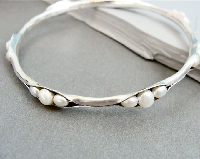 pearl cluster bangle, silver stack bangle, pearl stack bangle, pearl bracelet, silver bracelet, gifts for her