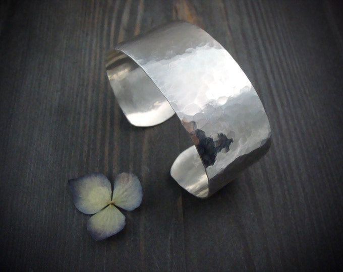 siren ... hammered sterling silver cuff, cuff bracelet, wide cuff, 925, classic bangle, gifts for her