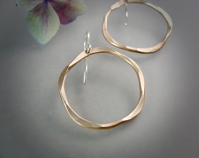 organic circle ... 14k gold filled hoop earrings, simple hoops, hammered hoops, gifts for her, gold hoops