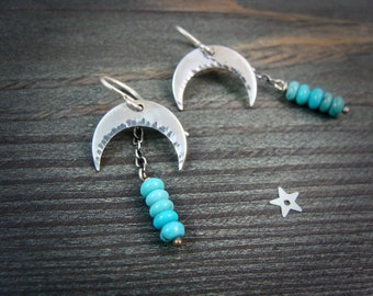 turquoise moon ... gemstone earrings, sterling silver dangles, turquoise earrings, crescent moon earrings, gifts for her