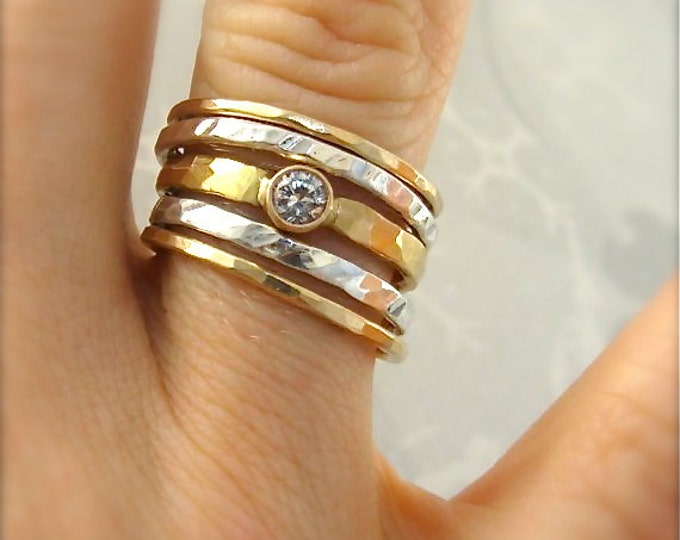 reflection stack.. mixed metal stack rings, 14k gold and silver stack rings, white sapphire ring set, solid 14k gold and sapphire ring