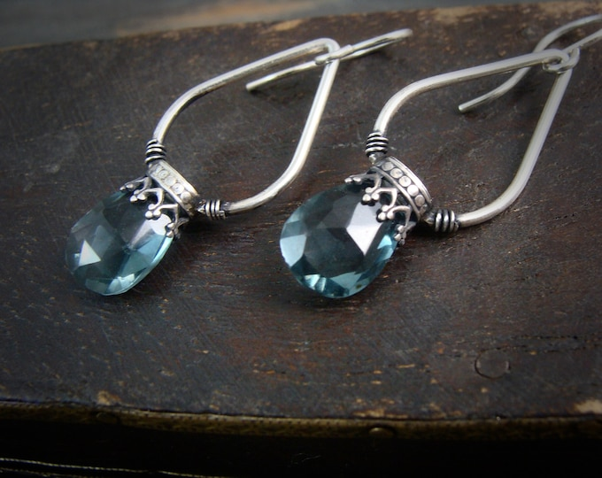 blue quartz lanterns ... gemstone earrings, sterling silver dangles, blue quartz earrings, 925, gifts for her