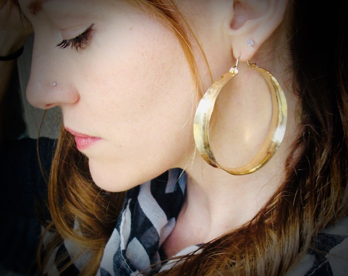xx-large 14k gold fill saddle hoops, handmade jewelry, lightweight hoops, gifts for her
