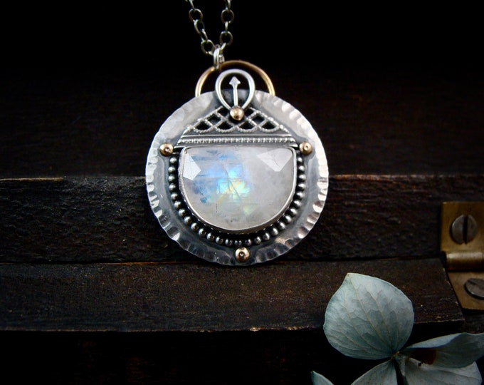 lunar temple ... moonstone mixed metal pendant, moonstone jewelry, celestial jewelry, gifts for her