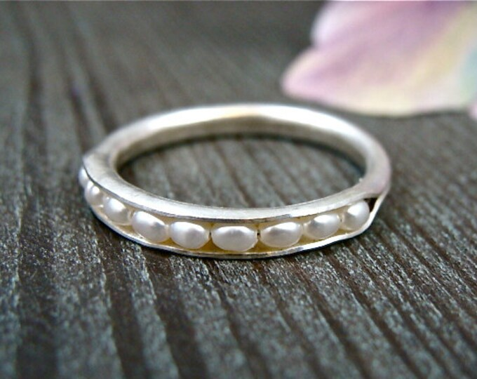 petite pearl stack ring .. sterling silver band ring, pearl ring