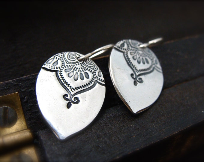 Marrakesh teardrop earrings ... henna inspired jewelry, silver dangles, gifts for her
