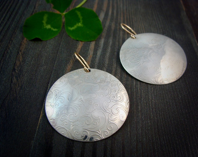 vine moon ... large sterling silver discs, handmade jewelry, statement earrings, gifts for her
