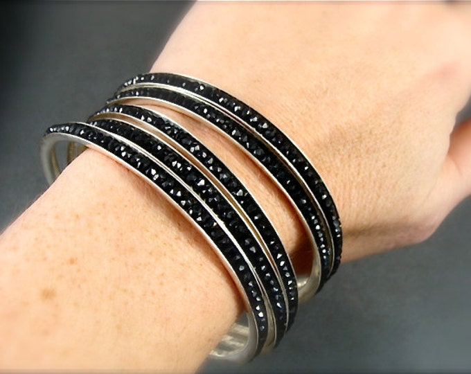 skinny gemstone bangle, black spinel bangle, stack bracelet, silver bangle, stack bangle, gifts for her