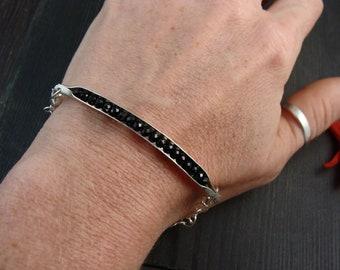black spinel cradle bracelet.. silver bracelet, gemstone bracelet, charm bracelet, gifts for her