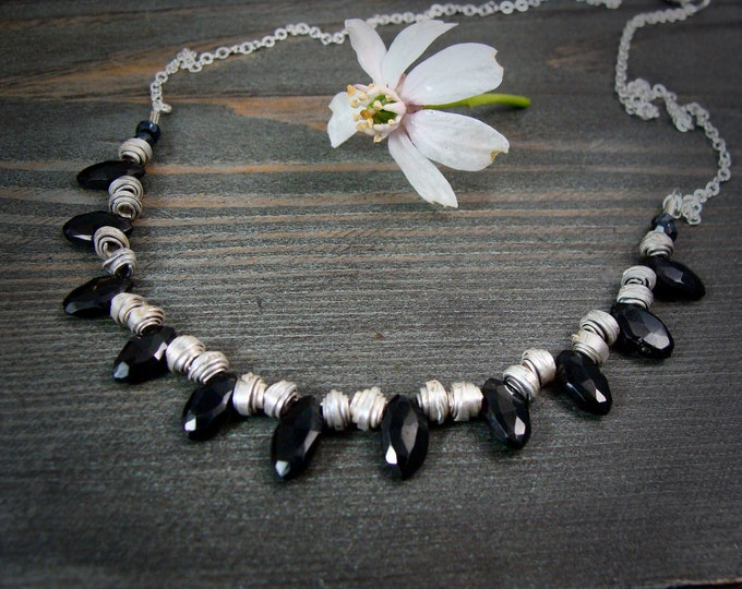 Bellatrix... sterling silver and black onyx necklace, handmade jewelry, gifts for her