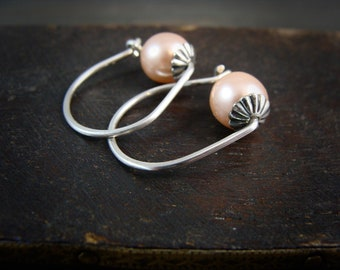 rose bud ... sterling silver hoops, Swarovski crystal pearl hoops, small hoops, Bridesmaid gifts, classic pearls, gifts for her
