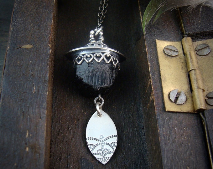 witchy woman … raw black tourmaline and sterling silver pendant, gifts for her, artisan jewelry