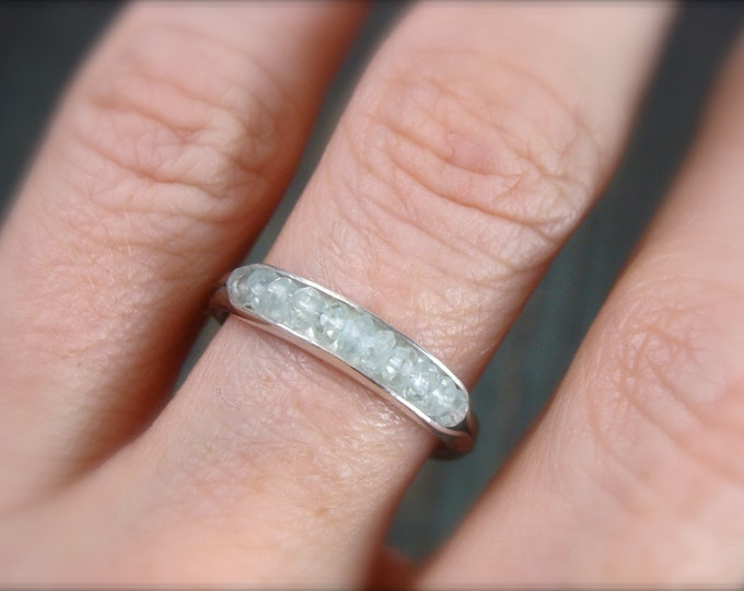 aquamarine stack ring... aquamarine band ring, silver stack ring, gemstone stack ring, aquamarine ring