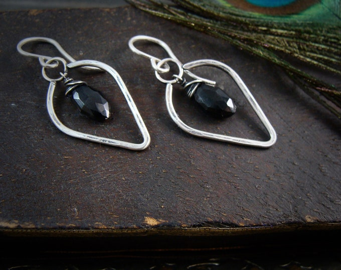 night shade ... sterling silver and black garnet hoops, petal earrings, gifts for her