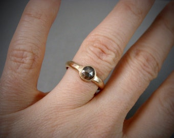 dark rose ... rose cut diamond and solid 14k gold ring, hammered gold ring, diamond solitare