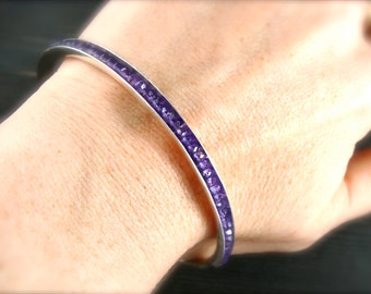 amethyst gemstone stackable bangle, February birthstone, silver bangle, stack bangle, gifts for her