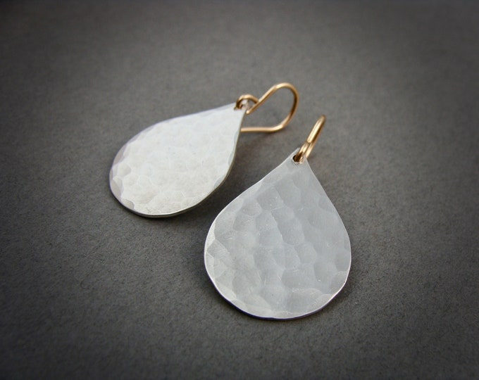 silver rain .. sterling silver dangles, teardrop earrings, hammered silver, mixed metal earrings, handmade jewelry, gifts for her