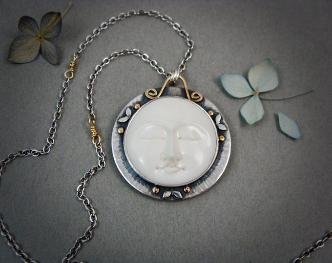 tranquility ... moon face pendant, moon pendant, mixed metal pendant, gifts for her