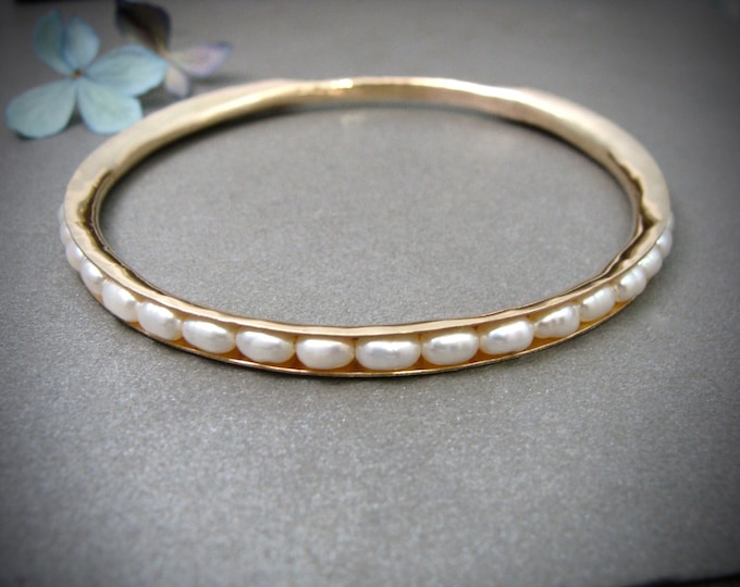 golden pearl stack bangle .. 14k gold filled, pearl bangle, pearl jewelry, classic bangles, weddings, gifts for her