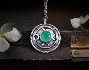 burgeoning... emerald green chalcedony sterling silver pendant, handmade jewelry, gifts for her