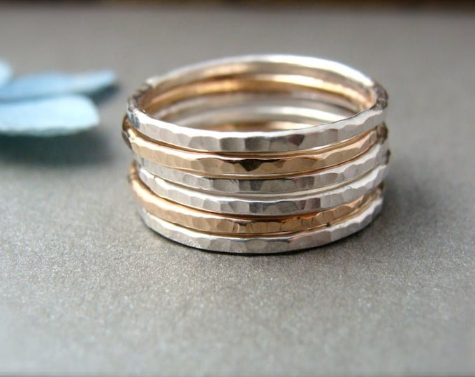 six … stackable rings, mixed metal stacking rings set, hammered stack rings, handmade rings, gold and silver rings