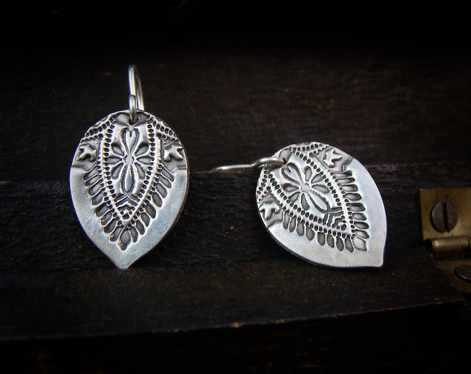 night market ... sterling silver teardrop dangles, imprinted jewelry, gifts for her, handmade jewelry,