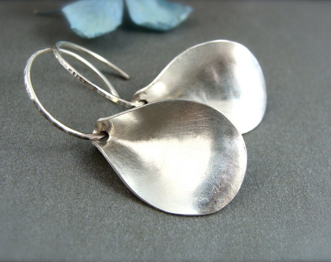 contemporary petal earring.. sterling silver earrings, modern jewelry, small hoops, gifts for her