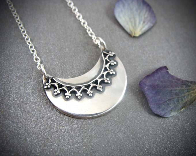prodigal moon... sterling silver crescent moon pendant, gifts for her, handmade jewelry