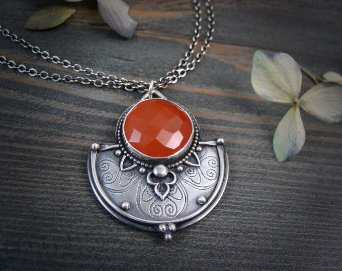 Vermillion... handmade sterling silver and carnelian pendant, gifts for her, statement necklace