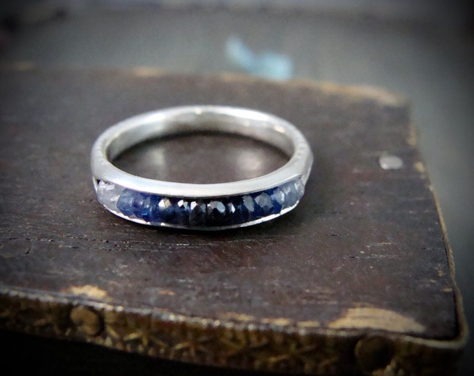 sapphire ombre .... stack ring... September birthstone, sapphire ring