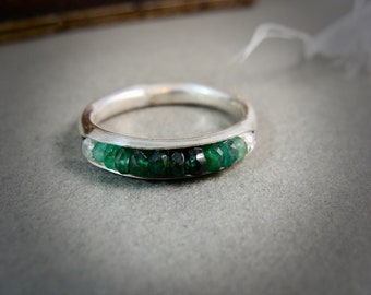 emerald ombre .... stack ring... May birthstone, emerald and sterling ring