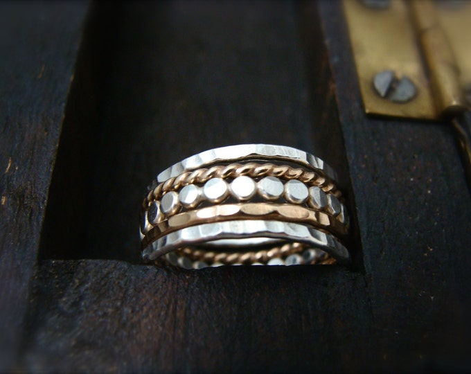 the gathering … mixed metal stacking rings, stack ring set, hammered stack rings