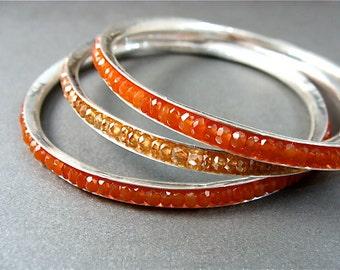 skinny carnelian bangle ... gemstone bangle, stack bangle, gemstone stack bangle, carnelian bangle, silver bangle, gifts for her