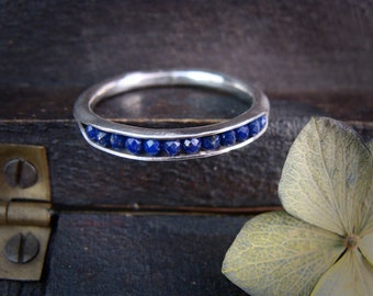 lapis ... rock candy stack ring, gemstone stack ring, silver stack ring, lapis band ring, gifts for her
