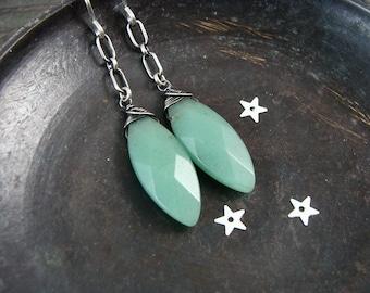 jadeite dangles ...gemstone earrings, sterling silver dangles, jadeite jewelry, jadeite dangles, Art Deco jewelry, gifts