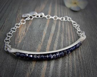 iolite cradle bracelet... iolite bracelet, silver bracelet, charm bracelet, gifts for her