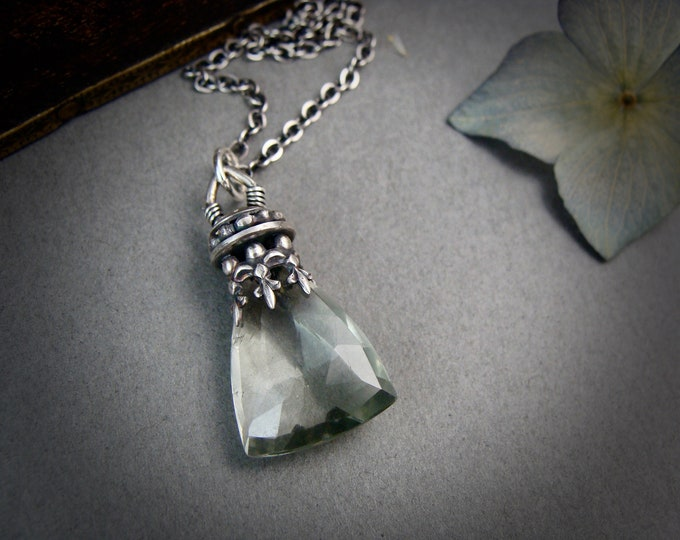 pendulum ... green amethyst and sterling silver pendant, layering pendant, gifts for her, handmade jewelry