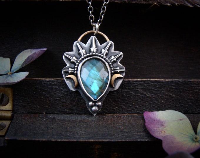 Lyra ... mixed metal labradorite pendant, handmade jewelry, mixed metal pendant, silversmith jewelry, gifts for her