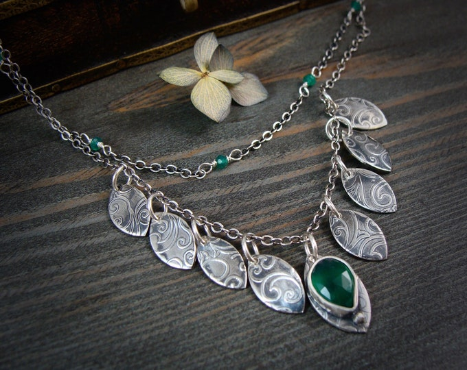 forest stipule ... sterling silver and green onyx necklace, handmade jewelry, gifts for her