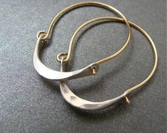 minimalist ... 14k gold filled and sterling silver hoops, handmade jewelry, gifts for her