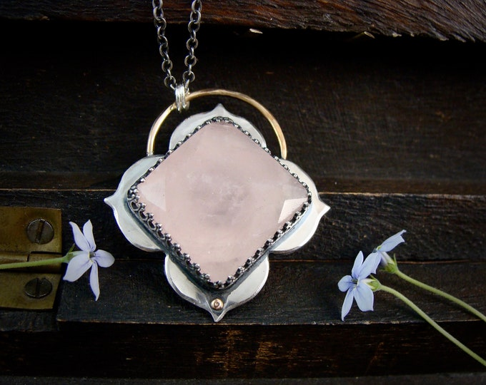 bloom ... handmade rose quartz and sterling silver flower pendant, statement piece,  gifts for her