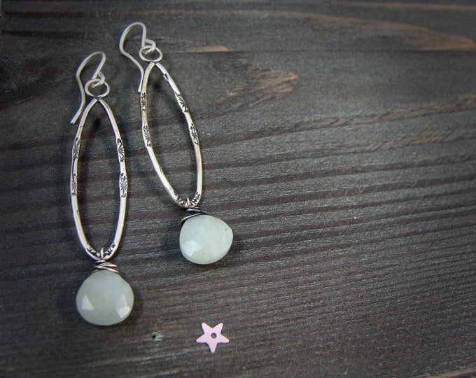 aquamarine meadow ... gemstone earrings, sterling silver dangles, imprinted jewelry, aquamarine earrings, 925, gifts for her