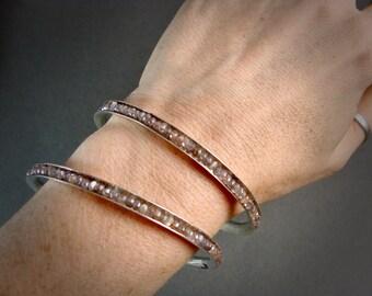 chocolate moonstone gemstone bangle ... moonstone bracelet, stack bangle, silver bangle, 925, gifts for her