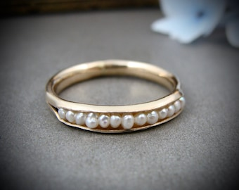 solid 14k gold petite pearl stack ring...pearl ring, pearl band ring, classic pearl ring, stack ring, gifts for her