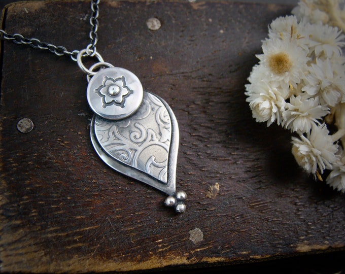 mehndi petal necklace ... sterling silver pendant, handmade jewelry, gifts for her, botanical jewelry, layering pendants