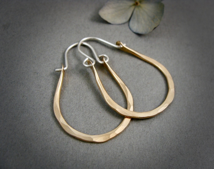 dawning ... mixed metal sterling and 14k gold filled hoops, handmade jewelry, gifts for her