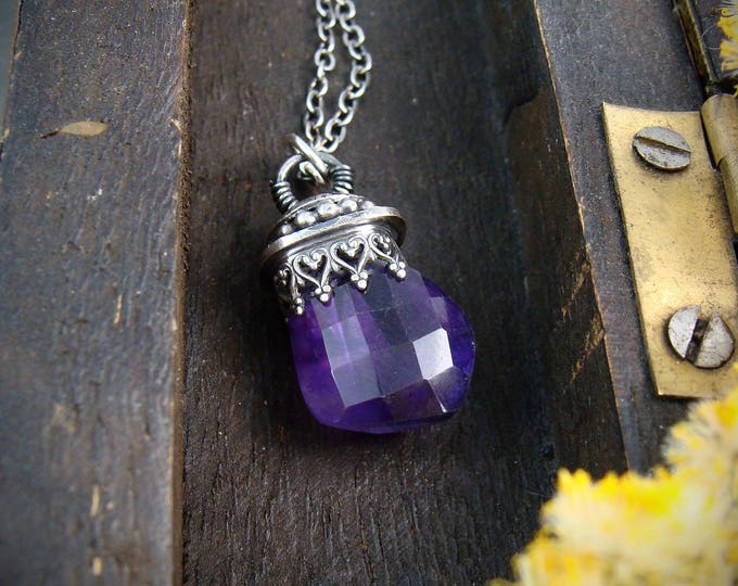 pendulum ... amethyst and sterling silver pendant, layering pendants, handmade jewelry, gifts for her