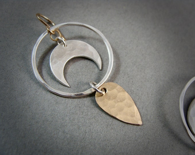 subtle alchemy ... mixed metal dangles, handmade jewelry, crescent moon jewelry, gifts for her